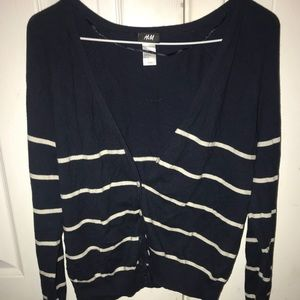 H&M blue and white striped cardigan